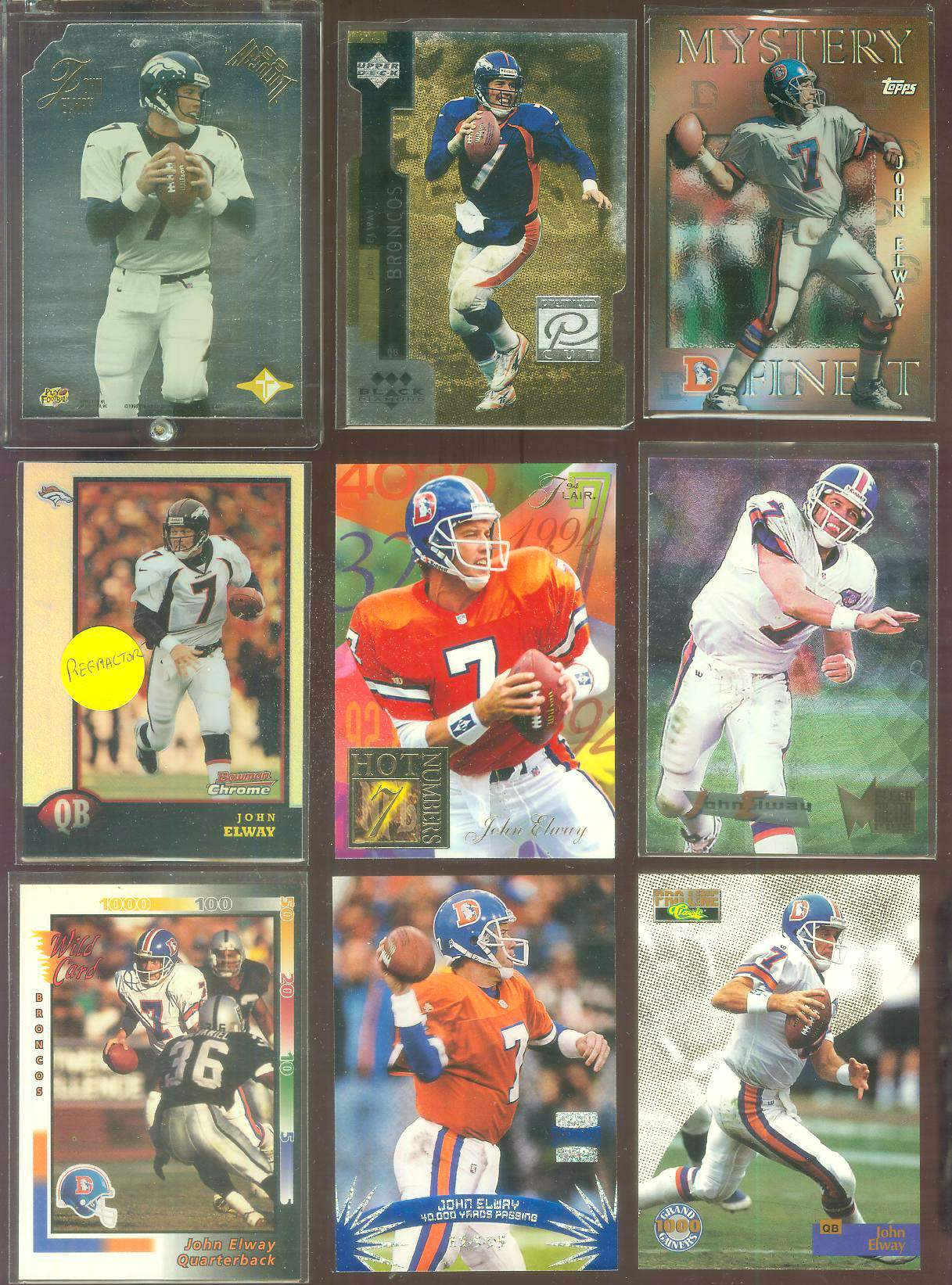 1998 Bowman Chrome Preview #BCP7 John Elway REFRACTOR Football cards value
