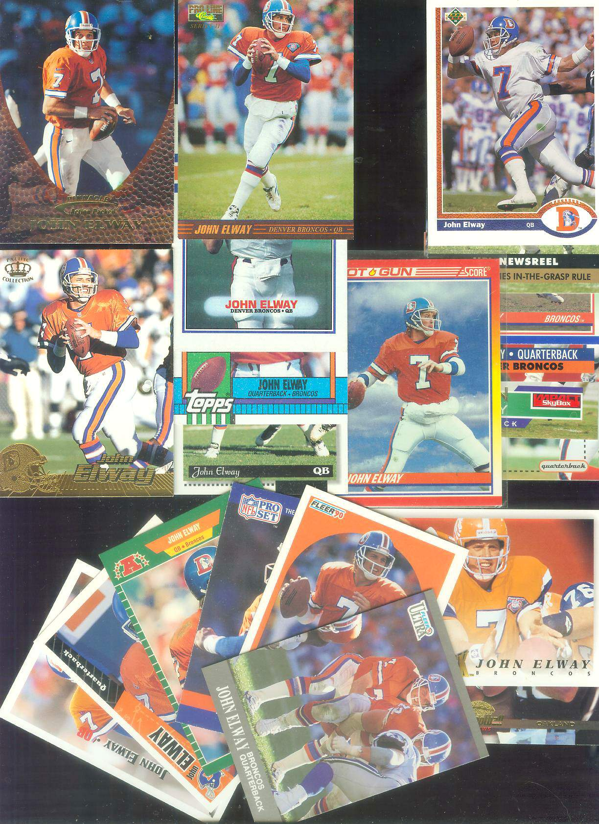 John Elway - Lot of (20+) different Football cards value