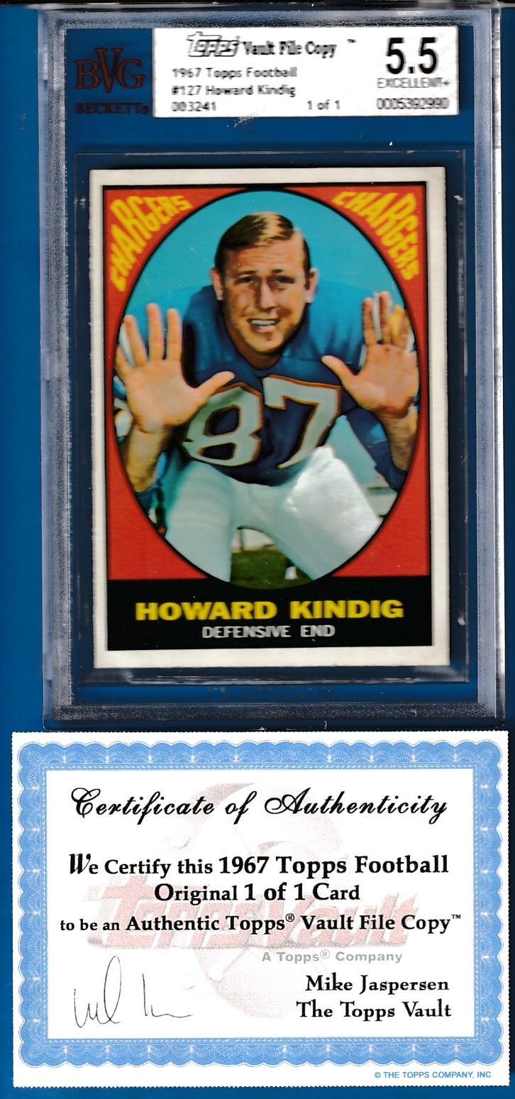 1967 Topps FB #127 Howard Kindig TOPPS VAULT FILE COPY (Chargers) Baseball cards value
