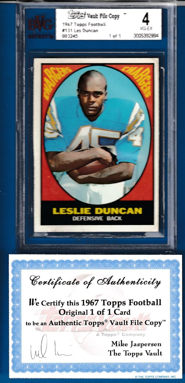1967 Topps FB #131 Leslie Duncan TOPPS VAULT FILE COPY (Chargers) Baseball cards value