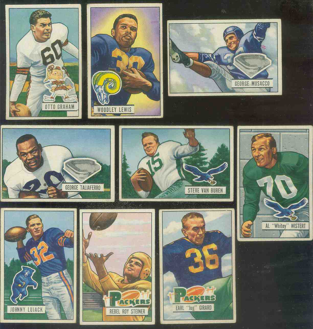 1951 Bowman FB #..8 George Taliaferro [#x] Football cards value