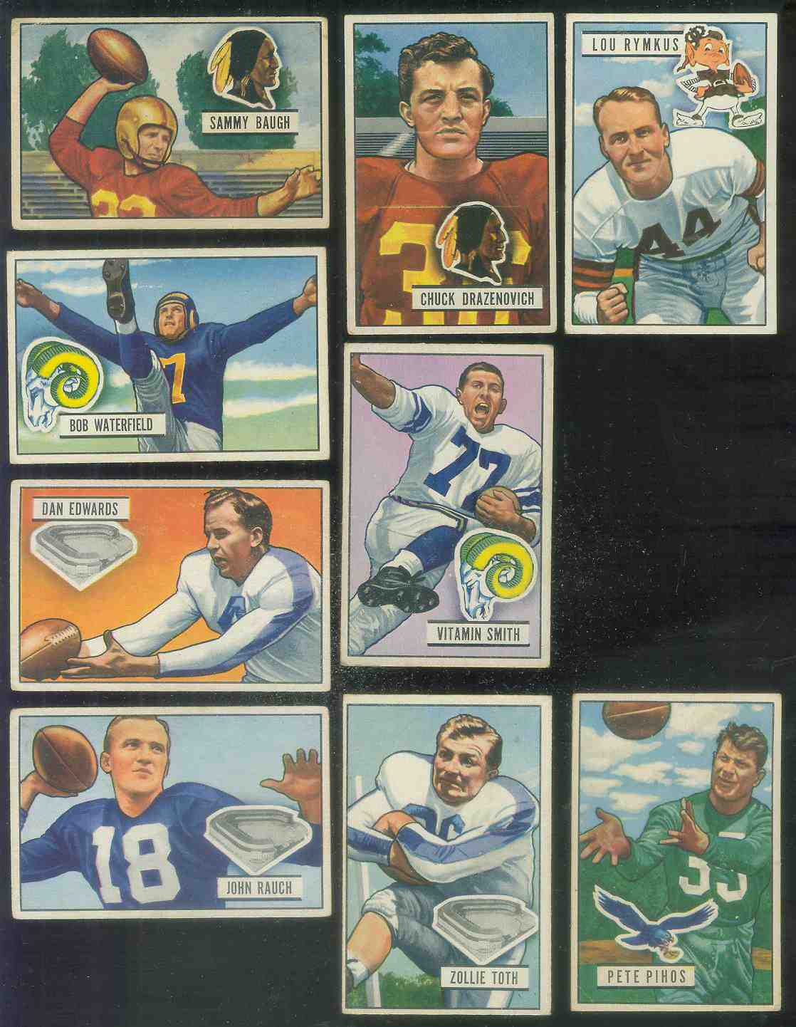 1951 Bowman FB #.35 Chuck Drazenovich Football cards value