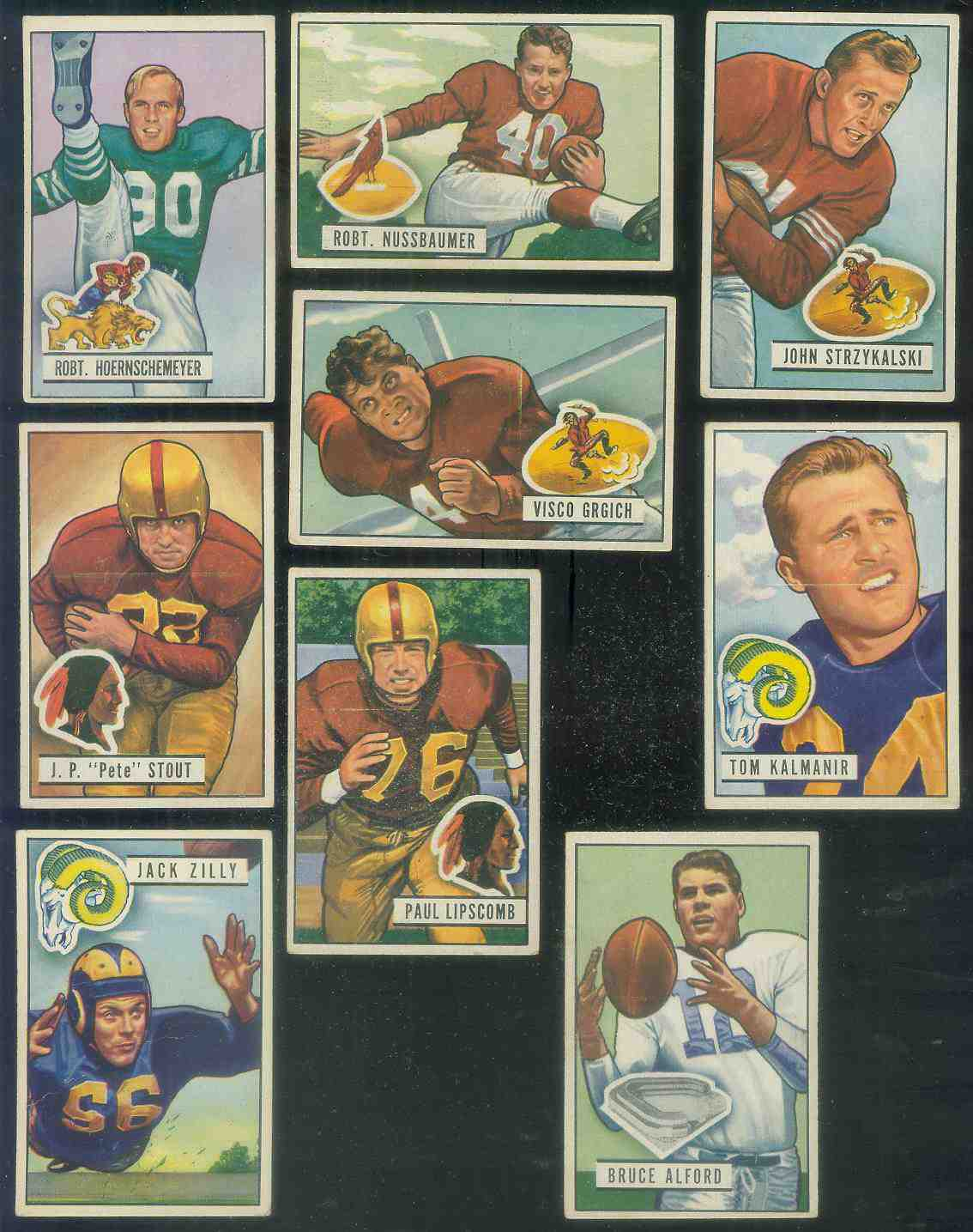 1951 Bowman FB #.71 Paul Lipscomb [#x] Football cards value