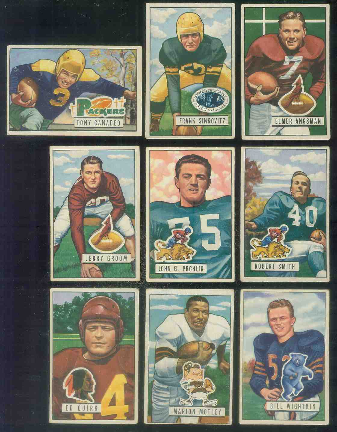 1951 Bowman FB #100 John Prchlik Football cards value