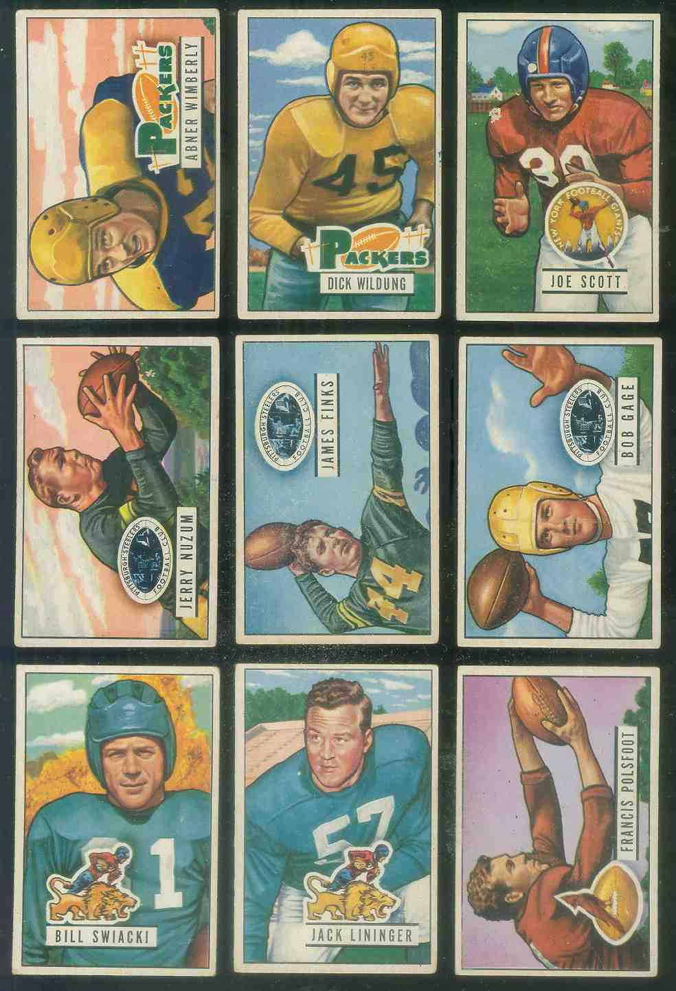 1951 Bowman FB #129 Jerry Nuzum Football cards value