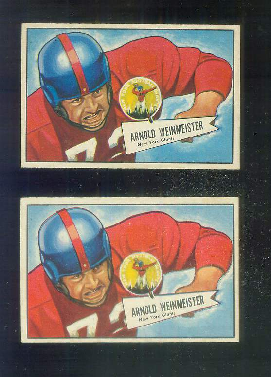 1952 Bowman Small FB #101 Arnie Weinmeister [#b] (HALL-of-FAMER, NY Giants) Football cards value