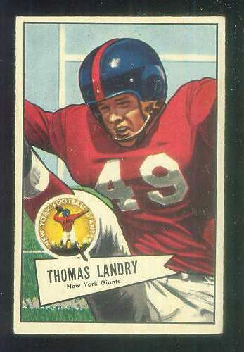 1952 Bowman Small FB #142 Tom Landry [#a] (NY Giants) Football cards value
