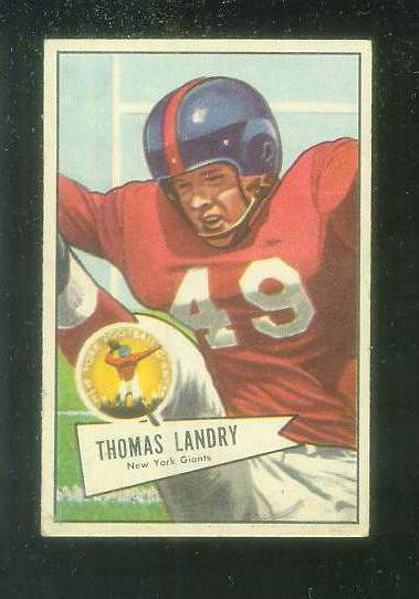 1952 Bowman Small FB #142 Tom Landry [#b] (NY Giants) Football cards value