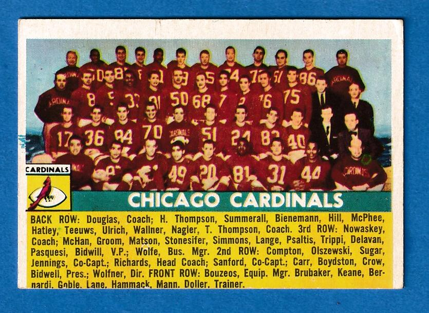 1956 Topps FB # 22 Chicago Cardinals TEAM CARD SHORT PRINT [#r] Football cards value