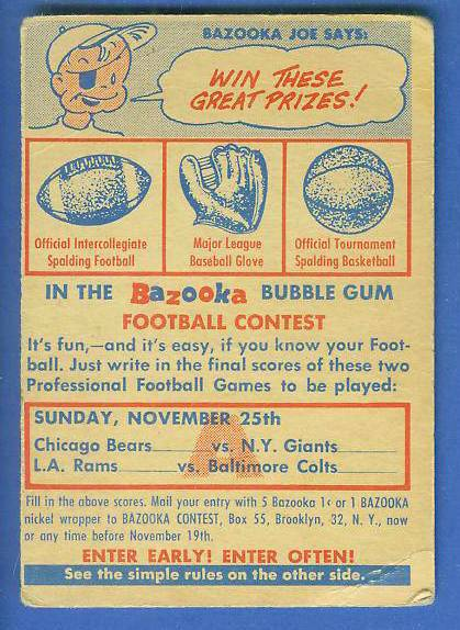 1956 Topps FB #CA CONTEST CARD [#d] (Sunday Nov. 25th) Football cards value