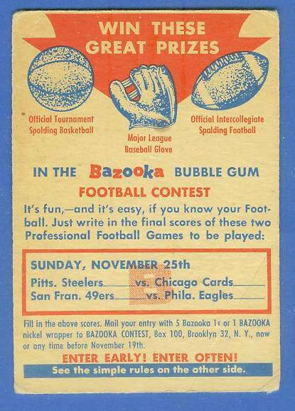 1956 Topps FB #CB CONTEST CARD [#b] (Sunday Nov. 25th) Football cards value