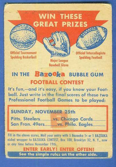 1956 Topps FB #CB CONTEST CARD [#c] (Sunday Nov. 25th) Football cards value