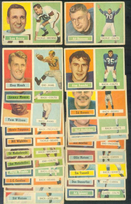 1957 Topps FOOTBALL - Lot of (22) different with HALL-OF-FAMERS !!! Football cards value