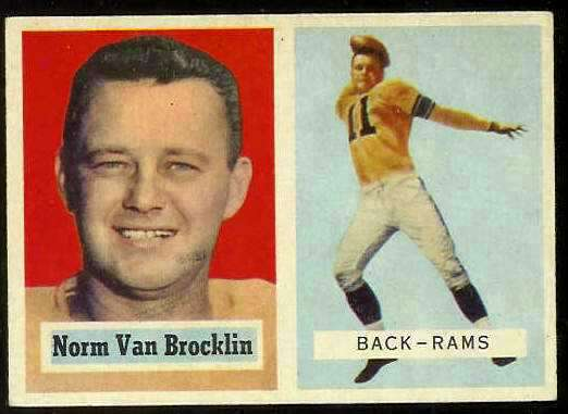 1957 Topps FB #.22 Norm Van Brocklin (Rams) Football cards value