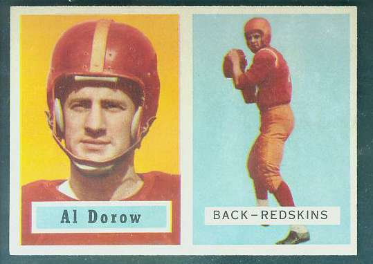 1957 Topps FB #.24 Al Dorow (Redskins) Football cards value