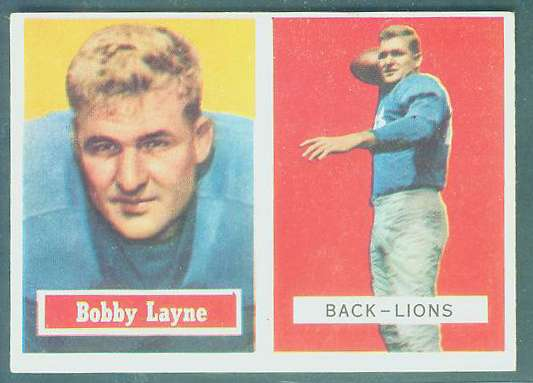 1957 Topps FB #.32 Bobby Layne (Lions) Football cards value
