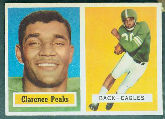 1957 Topps FB #.37 Clarence Peaks ROOKIE (Eagles) Football cards value