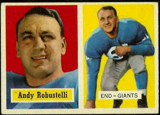 1957 Topps FB #.71 Andy Robustelli (NY Giants) Football cards value