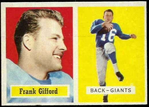 1957 Topps FB #.88 Frank Gifford [#a] (NY Giants) Football cards value