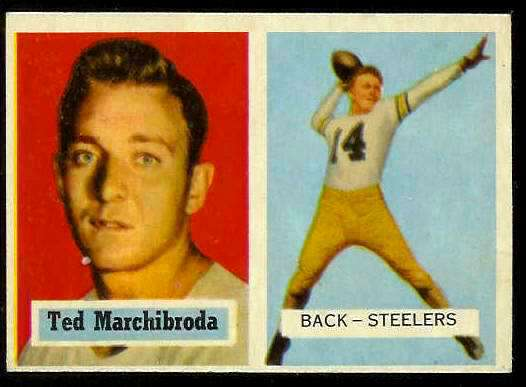 1957 Topps FB #113 Ted Marchibroda (Steelers) Football cards value