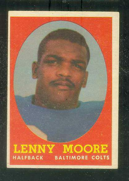 1958 Topps FB #.10 Lenny Moore [#b] (Colts Hall-of-Famer) Football cards value