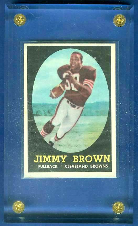 1958 Topps FB #.62 Jim Brown ROOKIE [#a] (Browns Hall-of-Famer) Football cards value