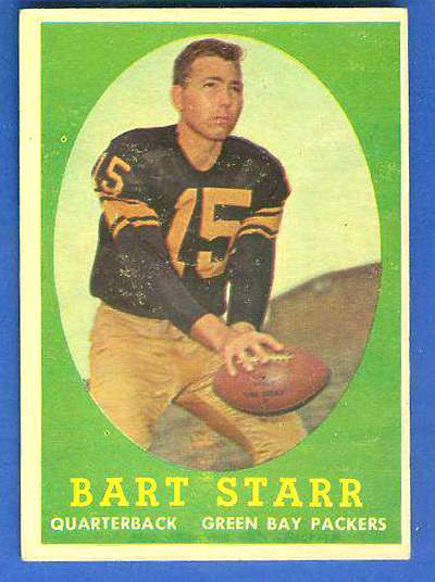 1958 Topps FB #.66 Bart Starr [#b] (Packers Hall-of-Famer) Football cards value