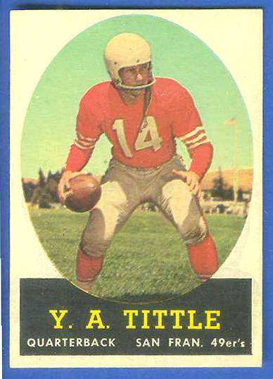 1958 Topps FB #.86 Y.A. Tittle [#a] (49ers Hall-of-Famer) Football cards value