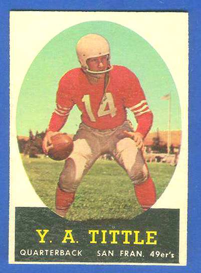 1958 Topps FB #.86 Y.A. Tittle [#b] (49ers Hall-of-Famer) Football cards value