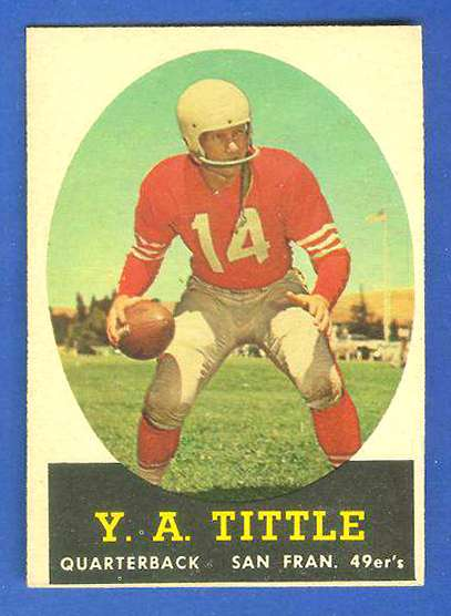 1958 Topps FB #.86 Y.A. Tittle [#c] (49ers Hall-of-Famer) Football cards value