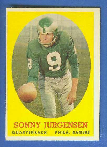 1958 Topps FB #.90 Sonny Jurgensen ROOKIE (Eagles Hall-of-Famer) Football cards value