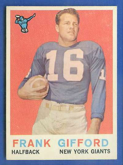 1959 Topps FB #.20 Frank Gifford [#a] (New York Giants) Football cards value