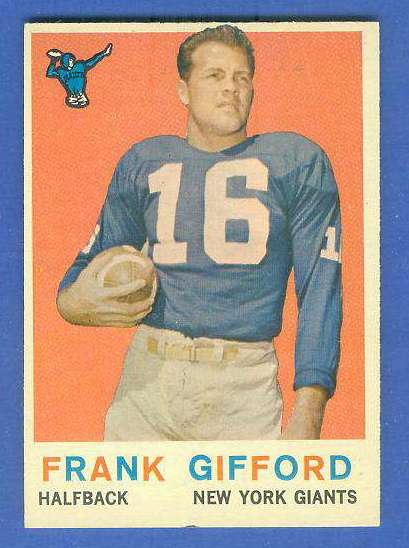 1959 Topps FB #.20 Frank Gifford [#b] (New York Giants) Football cards value