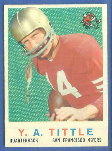 1959 Topps FB #130 Y.A. Tittle [#b] (49ers) Football cards value