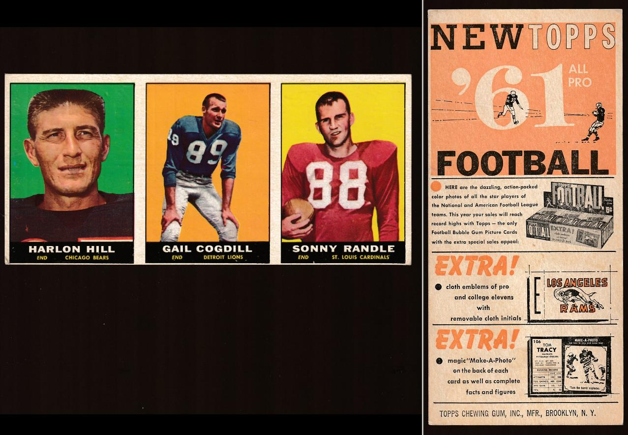 1961 Topps Football  *** RARE ***  3-Card Uncut DEALER'S SAMPLE PANEL Football cards value