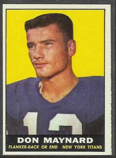 1961 Topps FB #150 Don Maynard ROOKIE [#a] (New York Titans/Jets) Football cards value