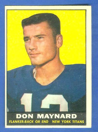 1961 Topps FB #150 Don Maynard ROOKIE [#b] (New York Titans/Jets) Football cards value