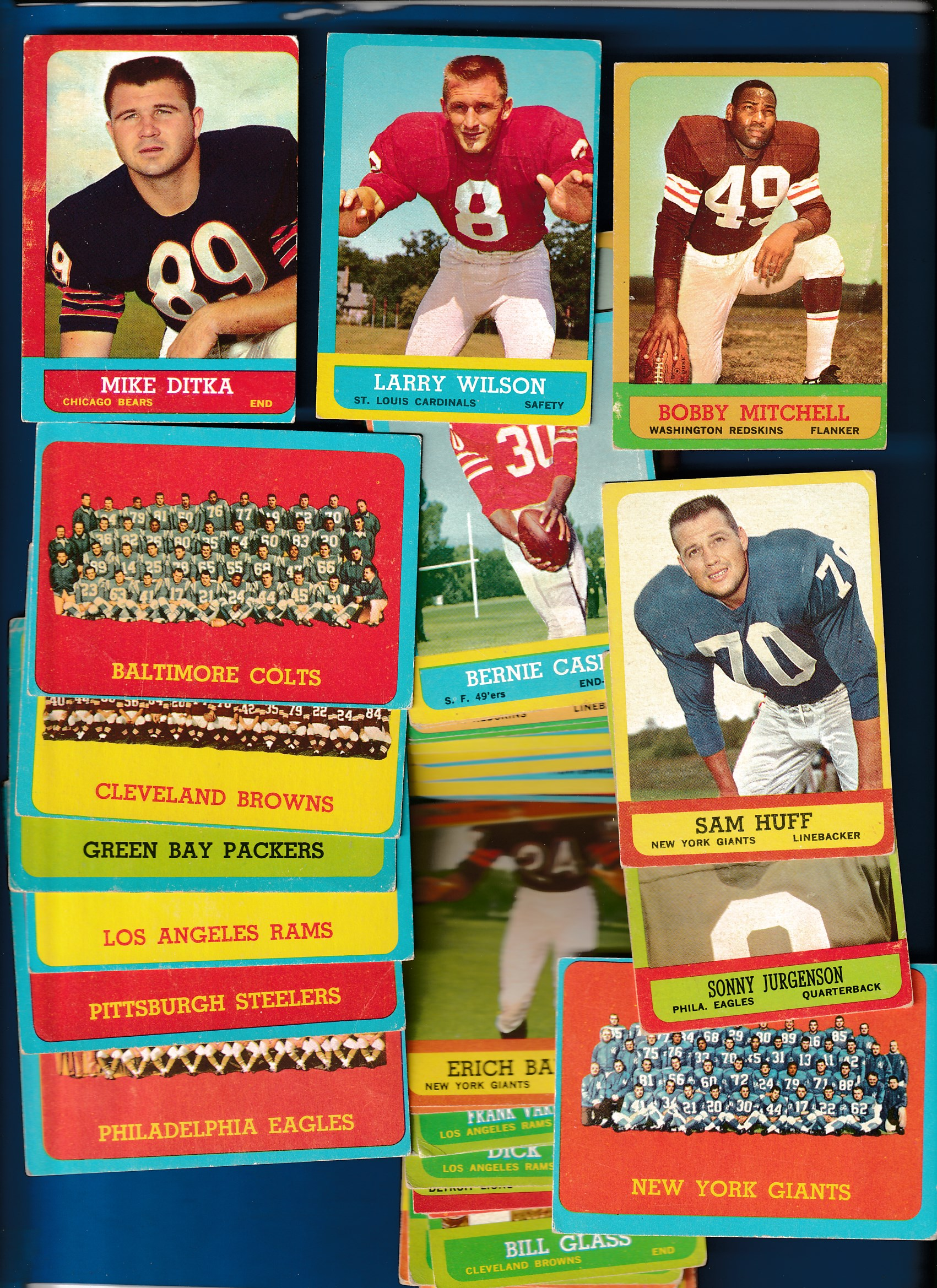 1963 Topps FB  - Lot of (56) diff. w/Mike Ditka (Bk=$60) Football cards value