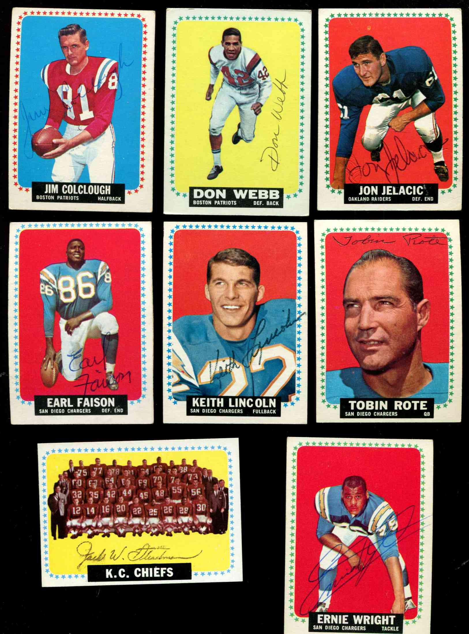 1964 Topps FB #171 Tobin Rote SHORT PRINT AUTOGRAPHED w/GAI LOA (Chargers) Football cards value