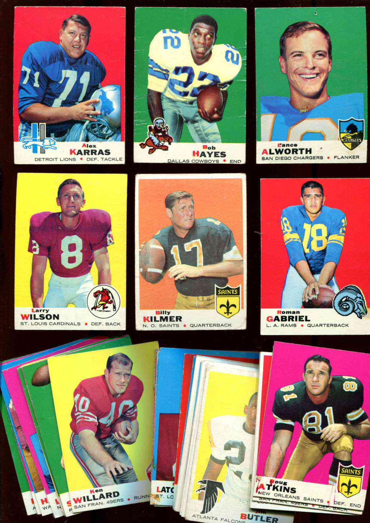 1969 Topps FB  - Lot of (40) different *** Lower Grade *** Football cards value