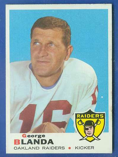 1969 Topps FB #232 George Blanda [#a] (Raiders) Football cards value