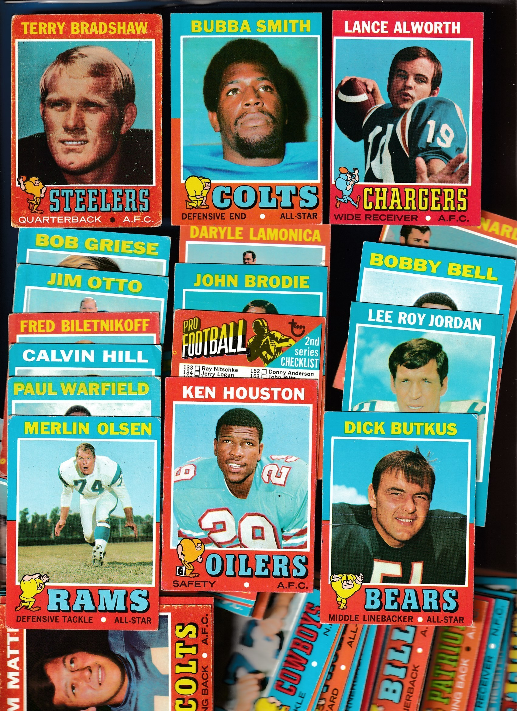 1971 Topps  Football - Starter Set/Lot (148) w/Terry Bradshaw ROOKIE (poor) Football cards value