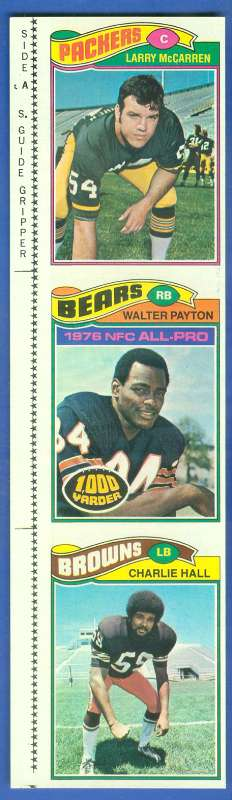 1977 Topps 3-Card UNCUT PANEL #360 WALTER PAYTON's 2nd year card !!! Football cards value