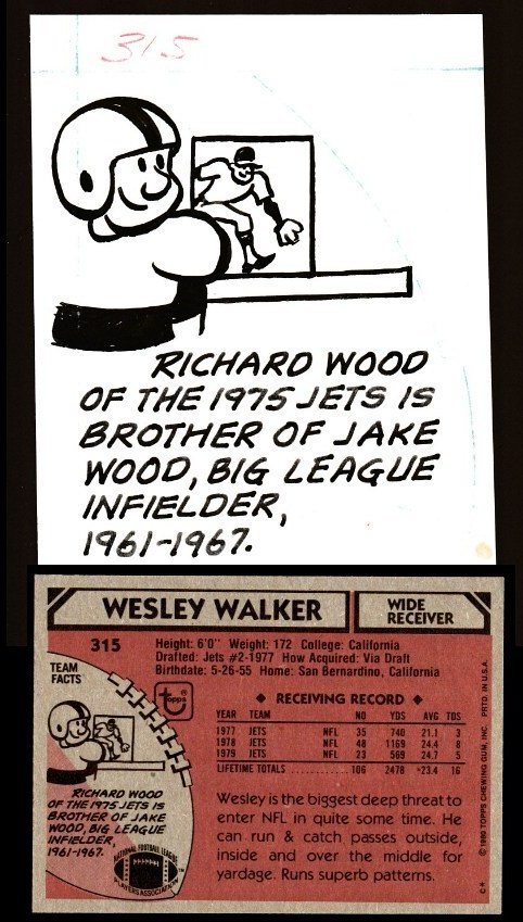1980 TOPPS VAULT Football ORIGINAL ARTWORK #315 Wesley Walker (Jets) Baseball cards value