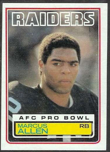 1983 Topps FB #294 Marcus Allen ROOKIE [#b] Football cards value