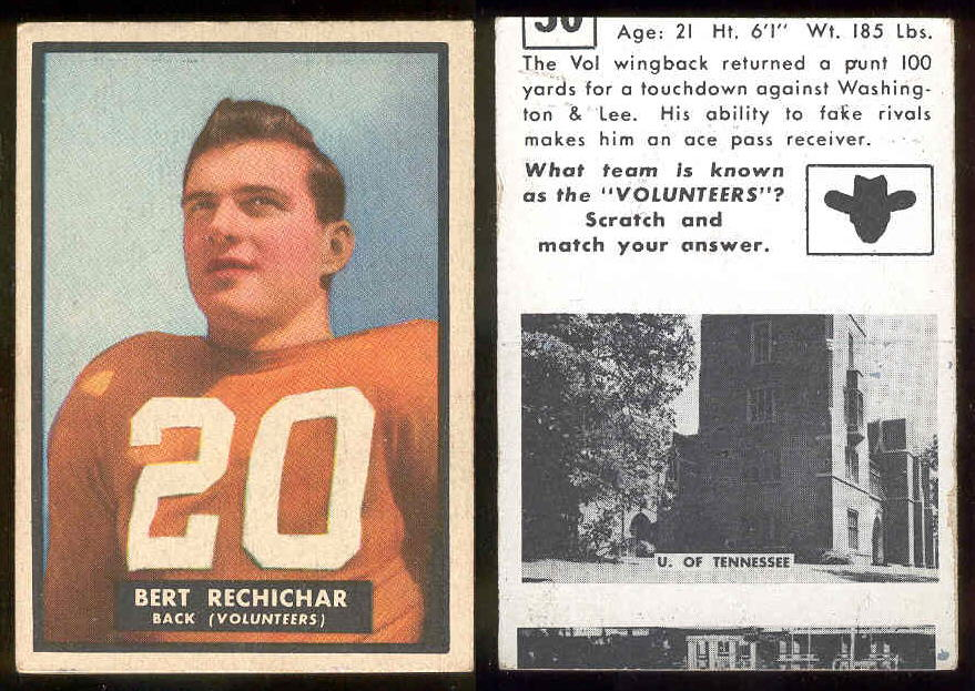 1951 Topps Magic FB #30 Bert Rechichar ROOKIE (Tennessee) Football cards value