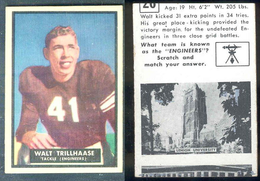 1951 Topps Magic FB #26 Walt Trillhaase (Lehigh University) Football cards value