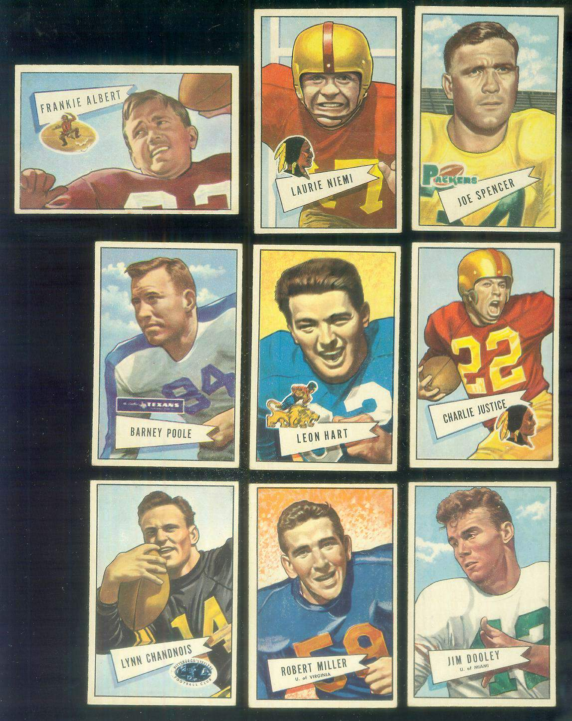 1952 Bowman Small FB #.27 Bob Miller ROOKIE (Lions) Football cards value