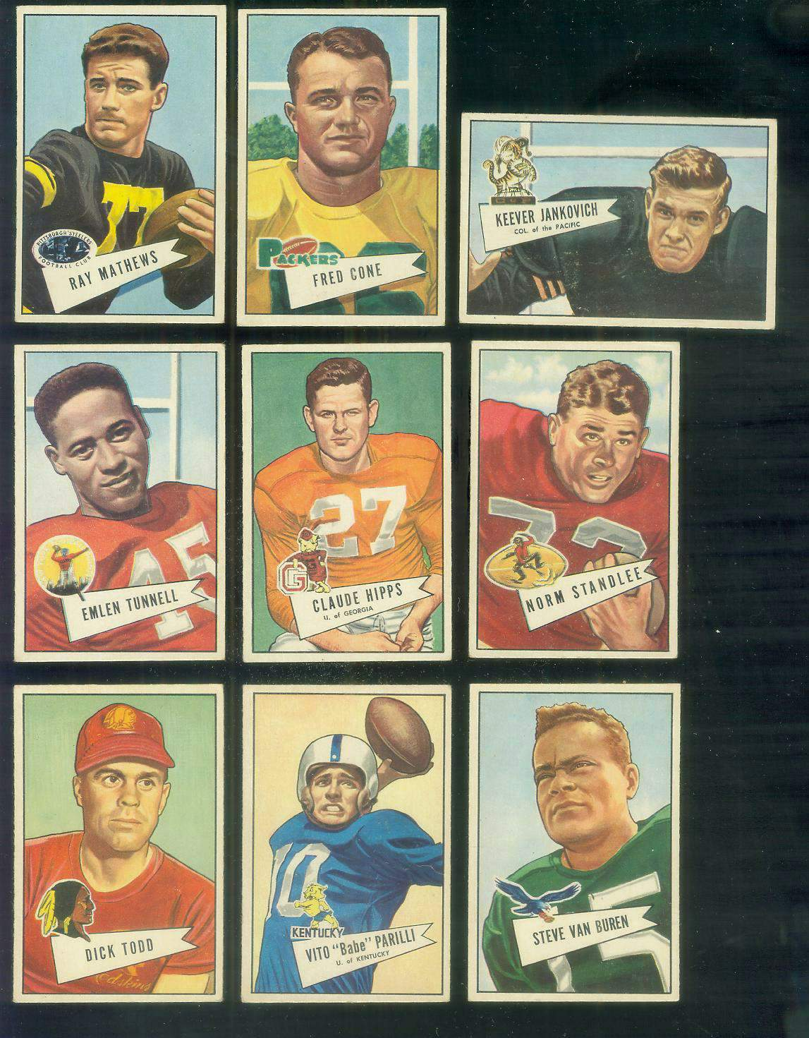 1952 Bowman Small FB #.44 Babe Parilli (Packers) Football cards value