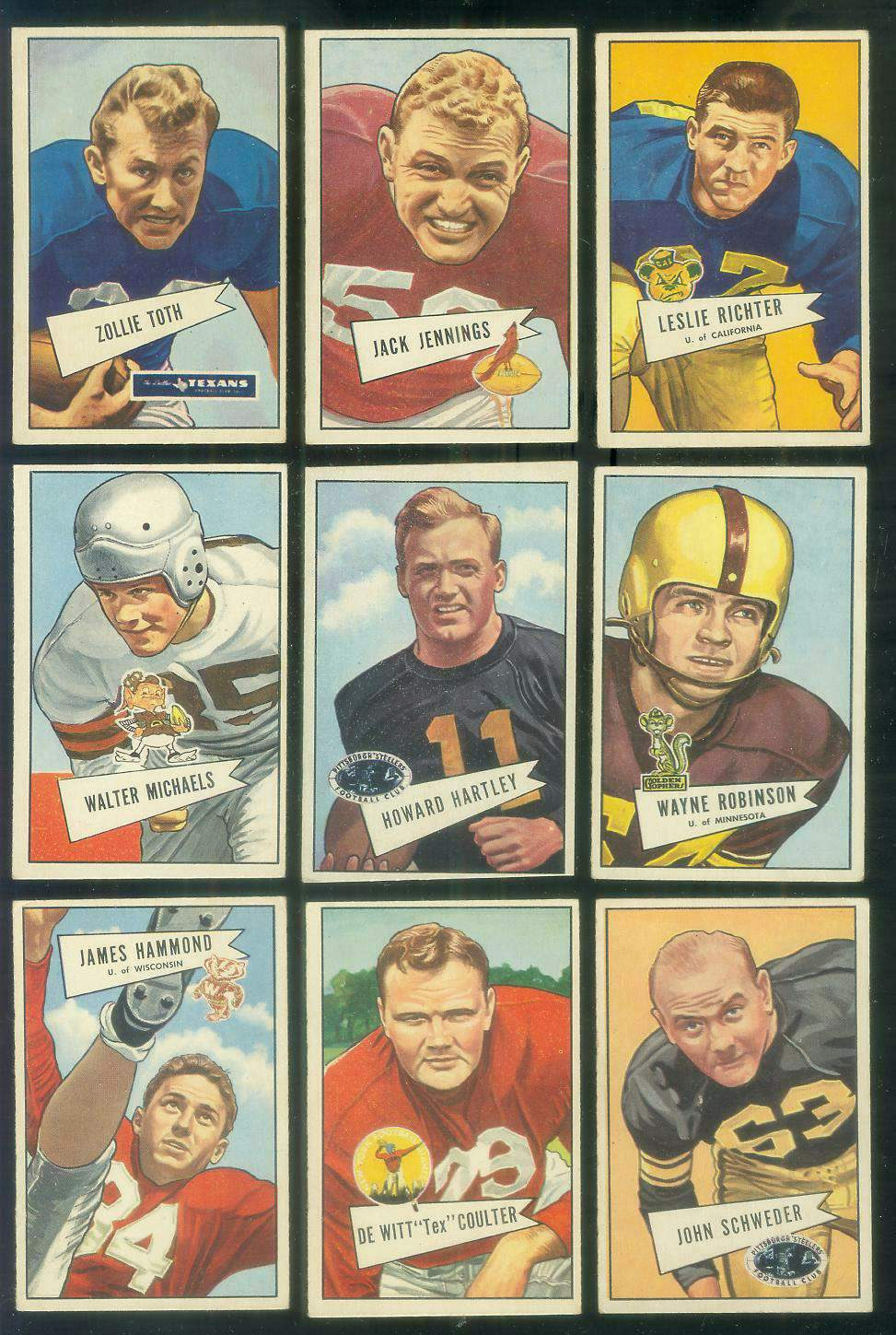 1952 Bowman Small FB #.71 De Witt 'Tex' Coulter (New York Giants) Football cards value